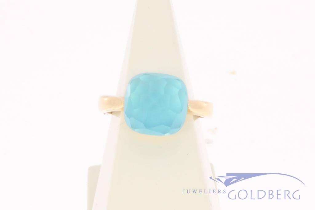 18k rosé gouden design ring facet geslepen blauwe steen