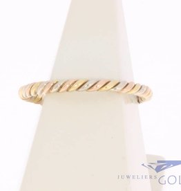Vintage 14 carat tricolor golden twisted ring