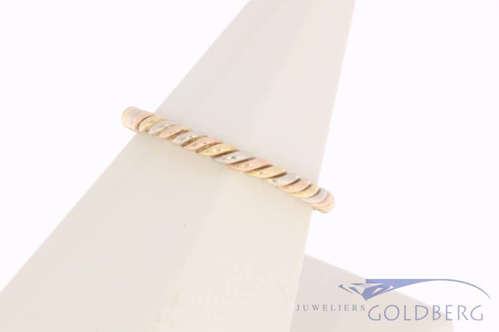Vintage 14 carat tricolor golden twisted ring