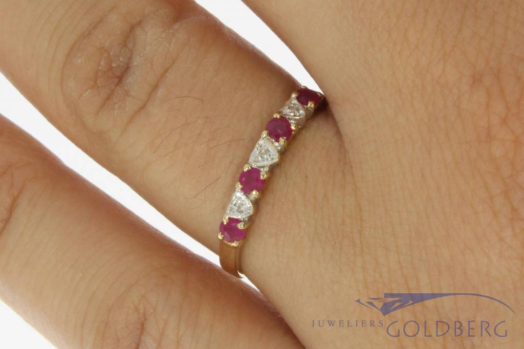 Vintage 14 carat gold alliance ring with ruby and diamond