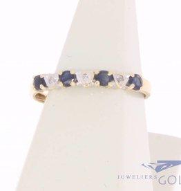 Vintage 14k gouden alliance ring met blauwe saffier en diamant