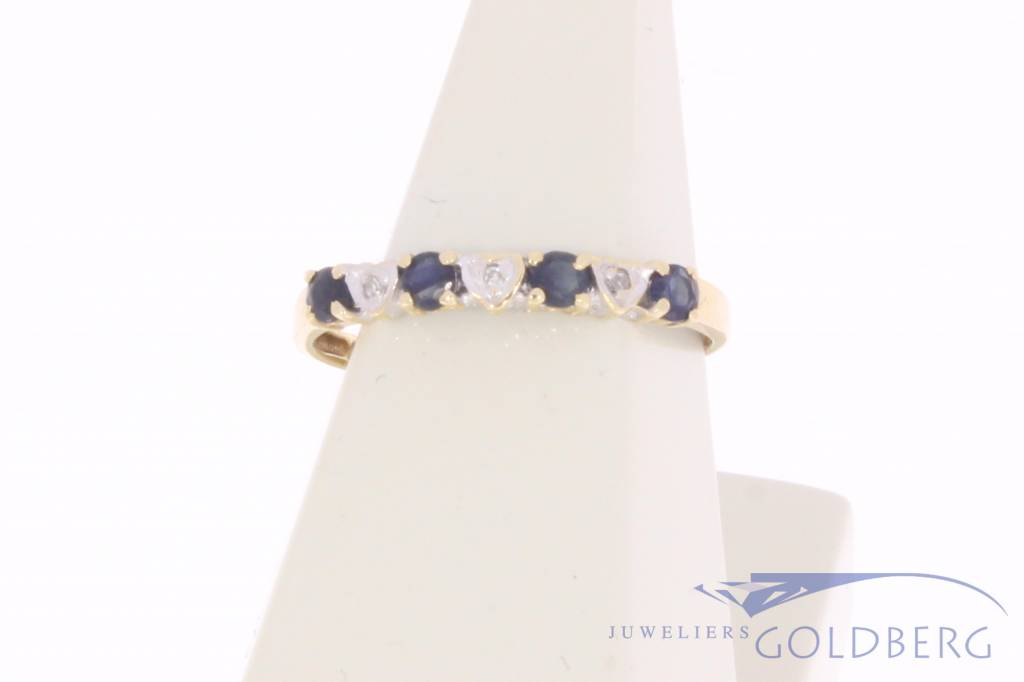 Vintage 14 carat gold alliance ring with blue sapphire  and diamond