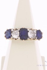 Antique 18 carat gold alliance ring with ca. 0.80ct diamond and blue sapphire