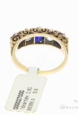 Antieke 18k gouden alliance ring met ca. 0.80ct diamant en blauwe saffier