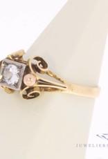 Vintage 14 carat tricolor gold fantasy ring with zirconia