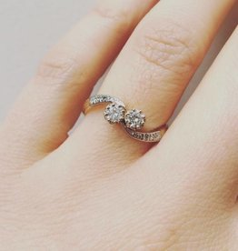 Vintage 14k gouden ring met ca. 0.25ct diamant