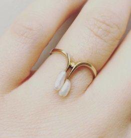 Vintage 14k gouden ring met Biwa parels