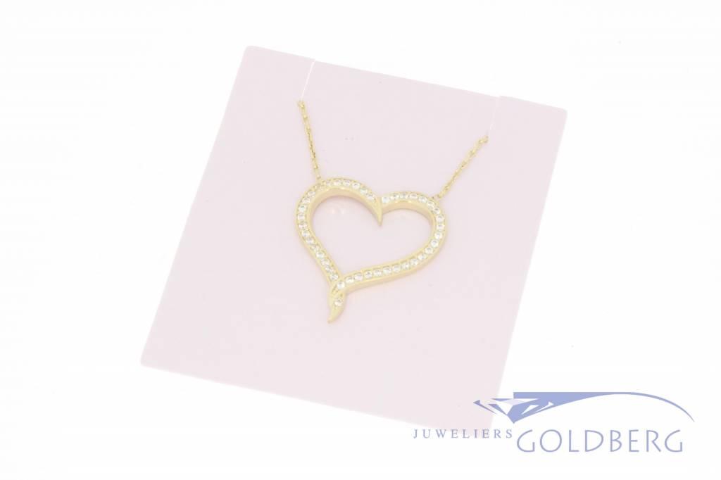 14k gouden collier met hart zirconia's