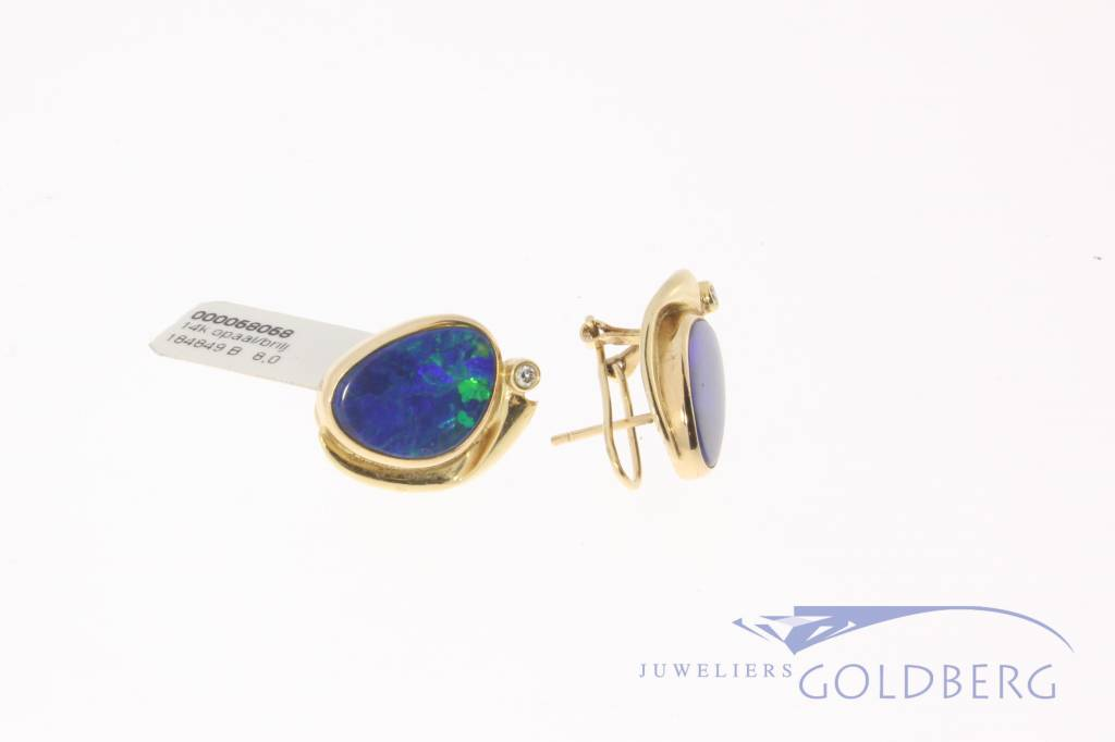 14k gold earrings with opal and diamond