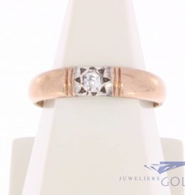 Vintage 14k bicolor solitair ring met ca. 0.04ct briljant