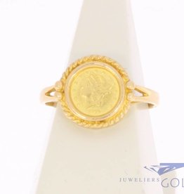 Vintage 20 carat gold ring with gold round