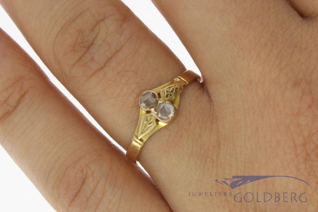 Antique 14 carat yellow gold ring with rose cut diamond