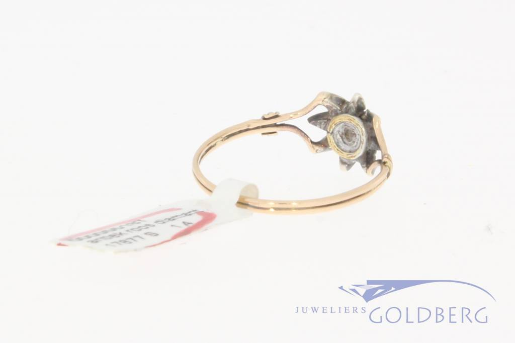Antique 14 carat gold and silver ring with rose cut diamond