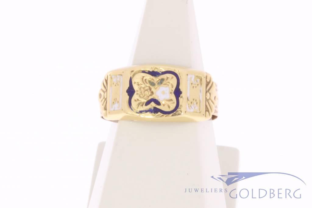 Antieke 14k gouden geëmailleerde ring
