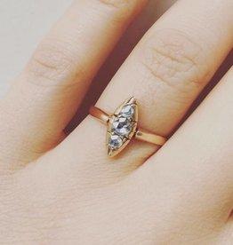 Antieke 14k gouden ring met roos geslepen diamant