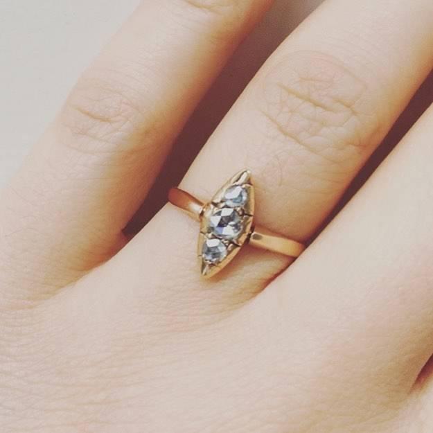 Antique 14 carat gold ring with rose cut diamond
