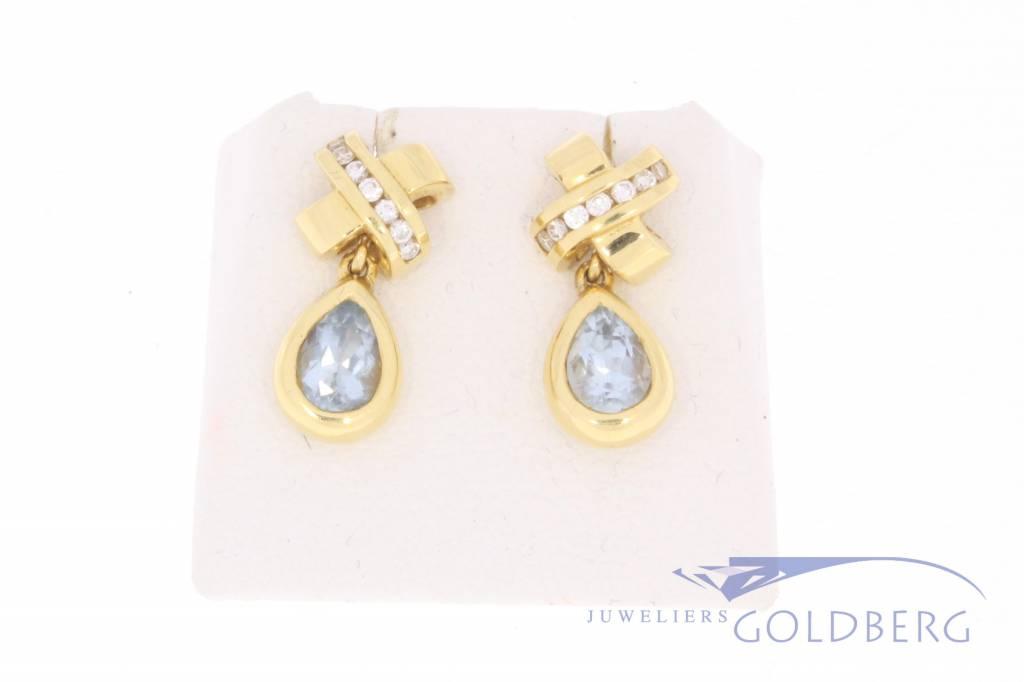 Vintage 18 carat gold earrings with ca. 0.15ct brilliant cut diamond and aquamarine