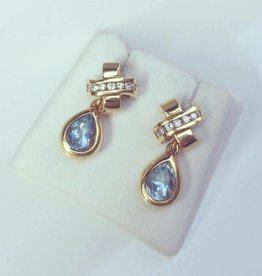 Vintage 18k gouden oorhangers met ca. 0.15ct briljant en aquamarijn
