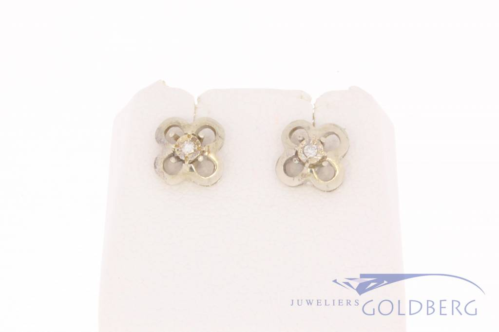 Vintage 14k witgouden bloemvormige oorstekers met diamant