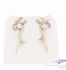 Vintage 18k witgouden oorstekers met briljant geslepen diamant