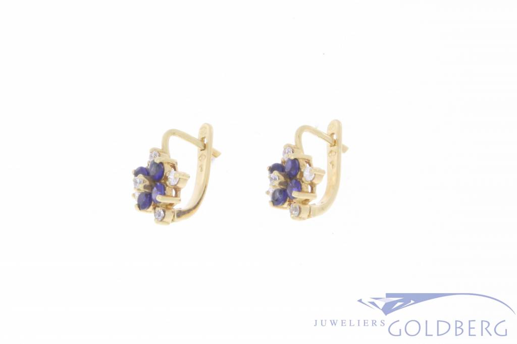 Vintage 18 carat gold earrings with zirconia and synthetic sapphire