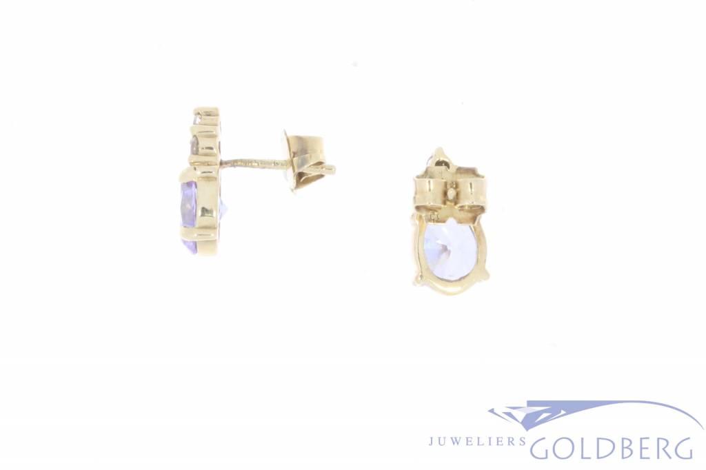 Vintage 14k gouden oorstekers met lichte amethist en zirconia