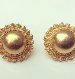Grote vintage 14k gouden filigrain oorstekers