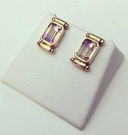Vintage 18k gouden oorstekers met toermalijn