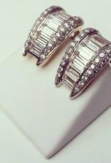 Vintage 18 carat gold earrings with baguette cut zirconia