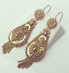 Antieke 14k gouden filigrain oorhangers