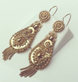 Antique 14 carat gold filigrain pendant earrings