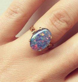 Vintage 18k gouden ring met doublet opaal