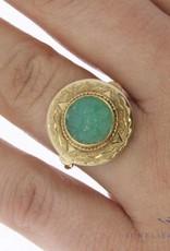 Vintage 14k gouden ring met jade