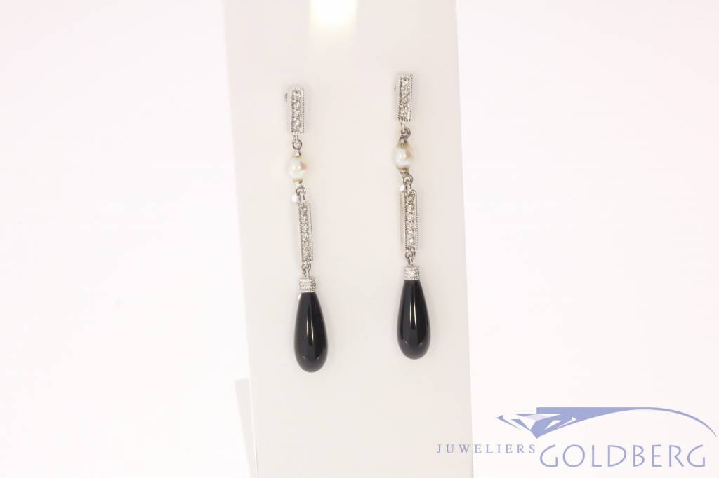 Vintage 14 carat white gold art deco style earrings with 0.16ct in diamond and black onyx