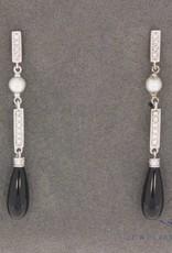 Vintage 14k witgouden art deco stijl oorhangers met 0.16ct briljant en zwarte onyx