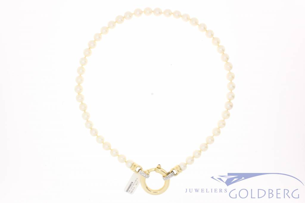 Vintage pearl necklace with gold lock goldberg vintage pearl necklace with gold diamond aloadofball Image collections