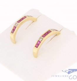 Vintage 18 carat gold earrings with ruby and brilliant cut diamond