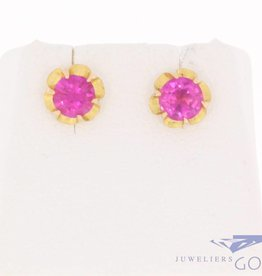 Vintage 18 & 14 carat gold ear studs with synthetic ruby