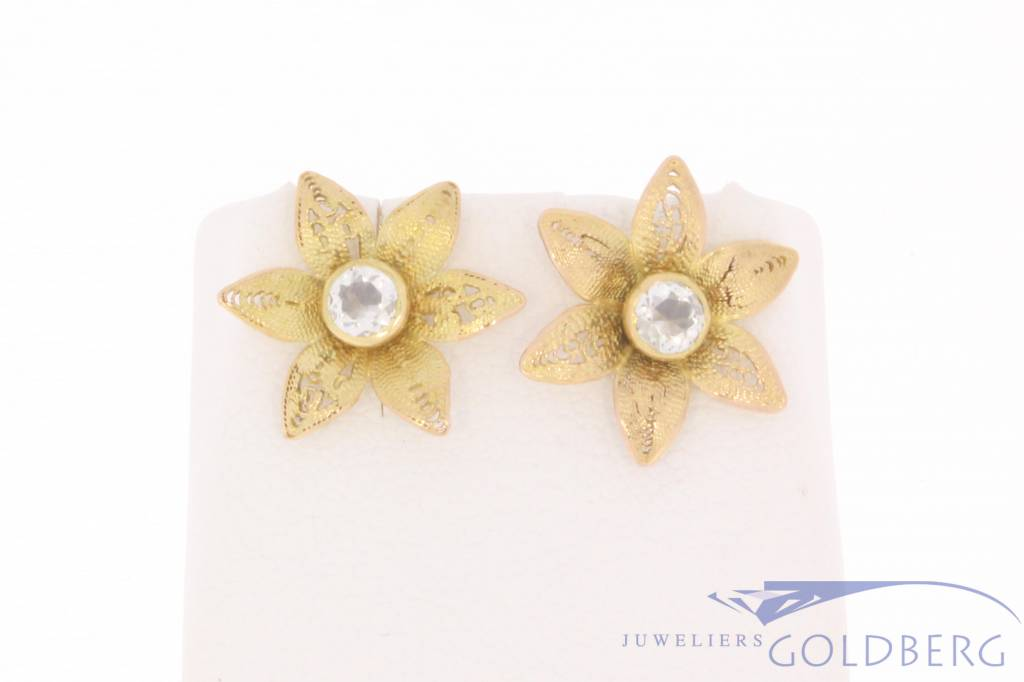 Vintage 14 Carat Gold Flower Shaped Ear Studs With Ca