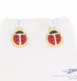 Vintage 14 carat gold children's earrings Ladybug