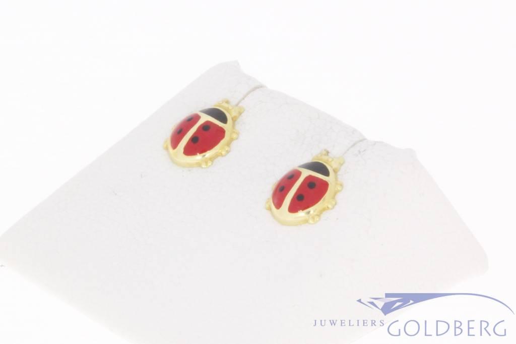Vintage 14 carat gold children's earrings Ladybug