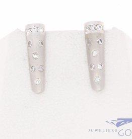 Vintage 14k witgouden gematteerde oorstekers met zirconia