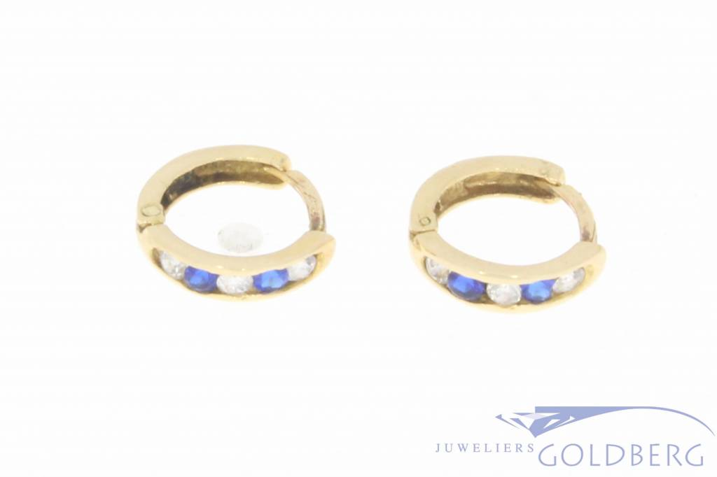 Vintage 14 carat gold creole earrings with zirconia and synthetic sapphire