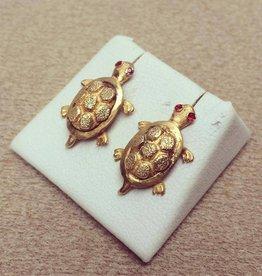 Vintage 18k gouden schildpad oorstekers met robijn
