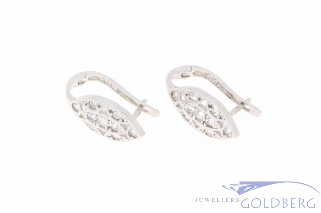 Vintage 14 carat white gold earrings with zirconia