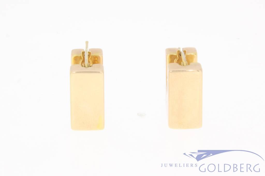 Vintage 14 carat gold square creoles