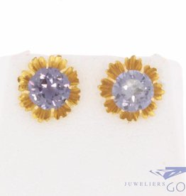 Vintage 18 carat gold earstuds with tanzanite