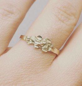Vintage 14k gouden moderne ring met ornament