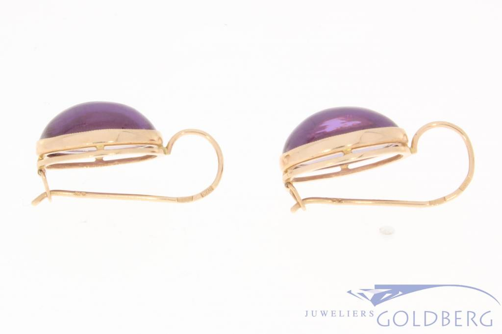 Vintage 14 carat gold earrings with amethyst Russia