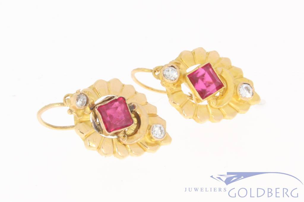 Vintage 18 carat gold earrings with synthetic ruby and zirconia